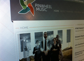 Pinwheel Music Branding inclusing logo and website.